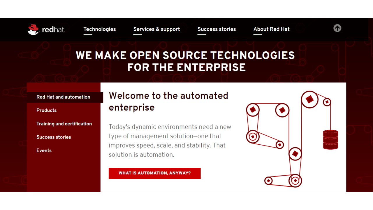 Redhat uses red to create a powerful look
