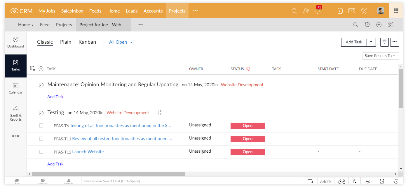 Manage your project via Zoho One for professional services