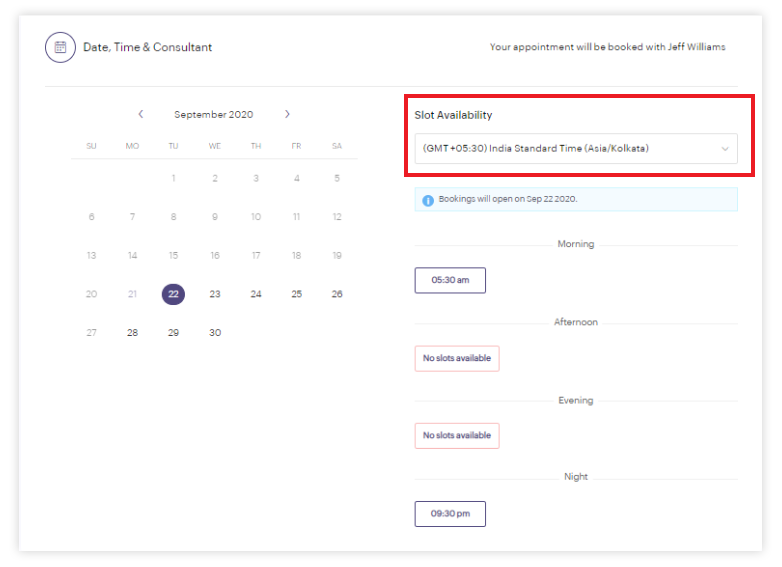 See appointment timings in your own time zone in Zoho Bookings