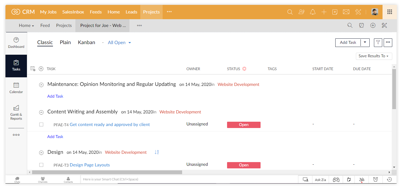 Zoho projects: setting tasks
