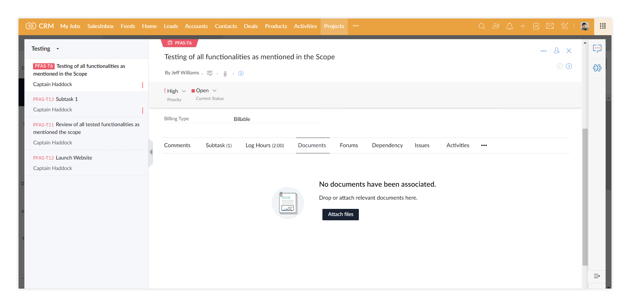 Zoho Projects: project task document attachment