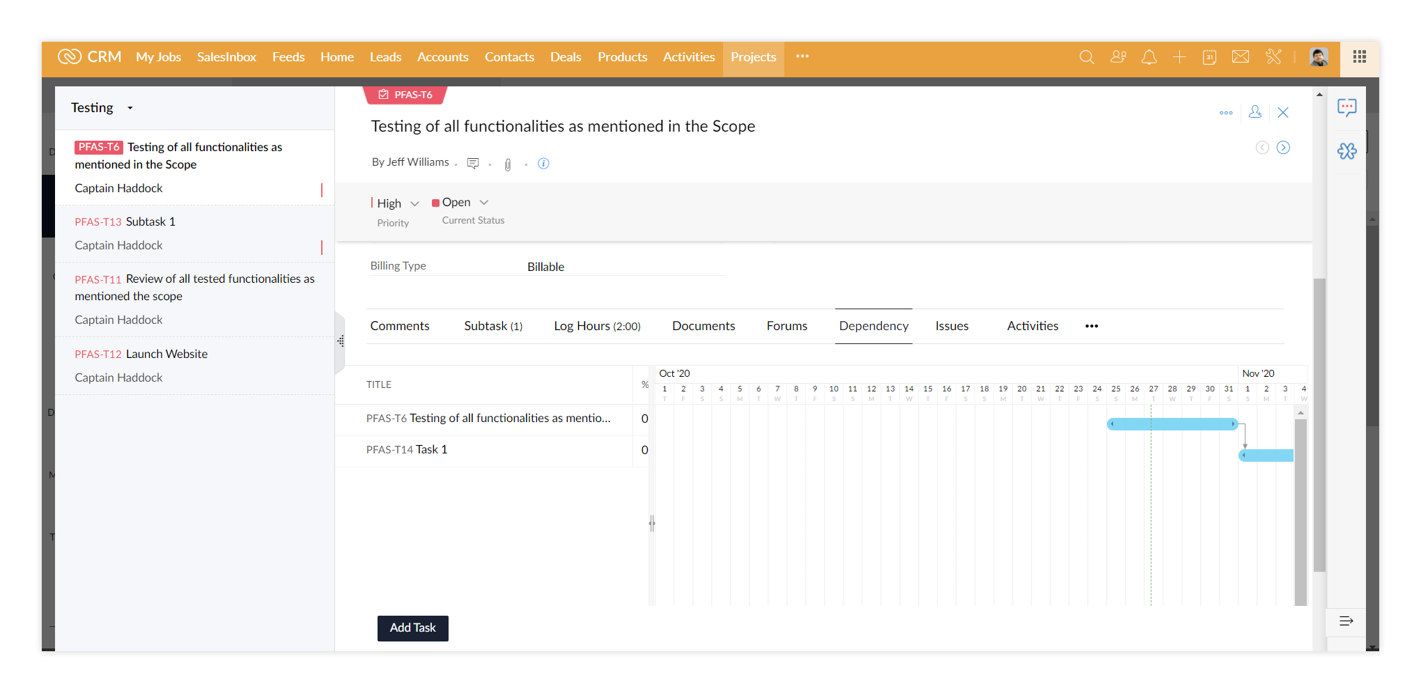 Zoho Projects: task dependency