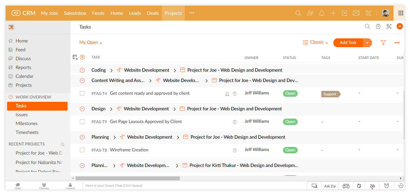 Professional Services: Project tasks