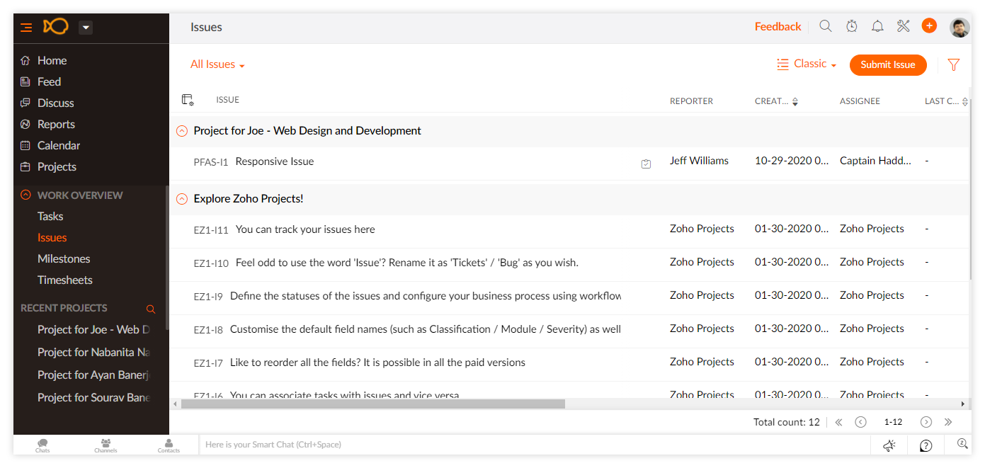 Zoho Projects to check resolve issues
