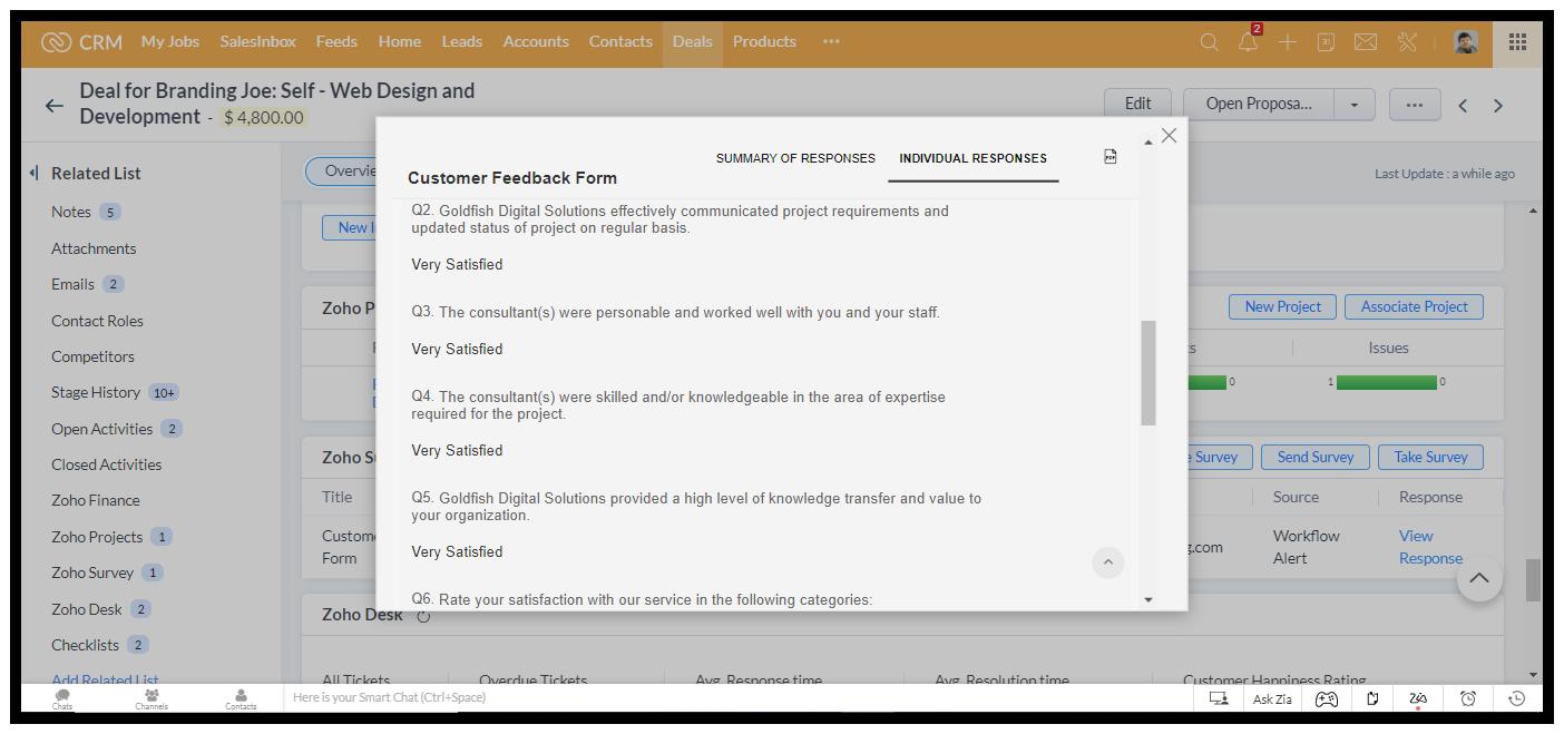 Individual customer feedback response