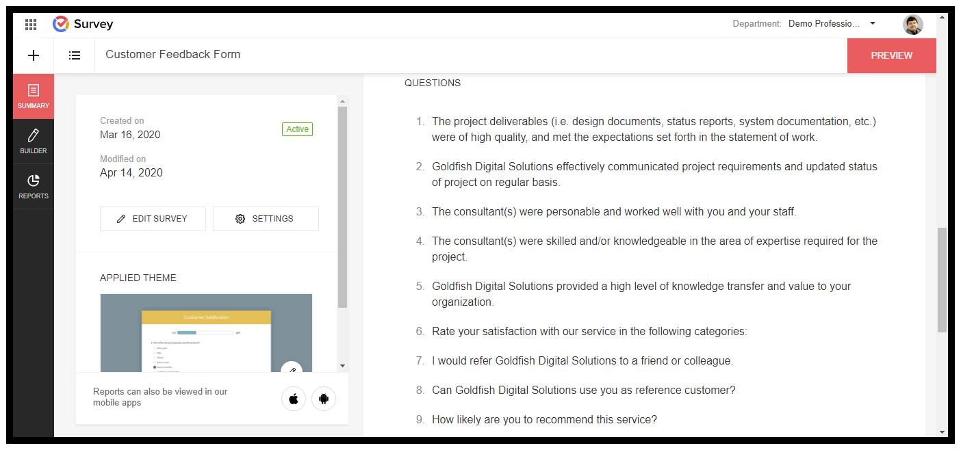 Feedback form layout in Zoho Survey