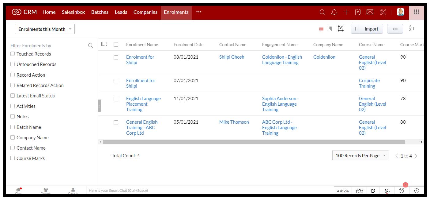 Training Provider CRM: Enrollments