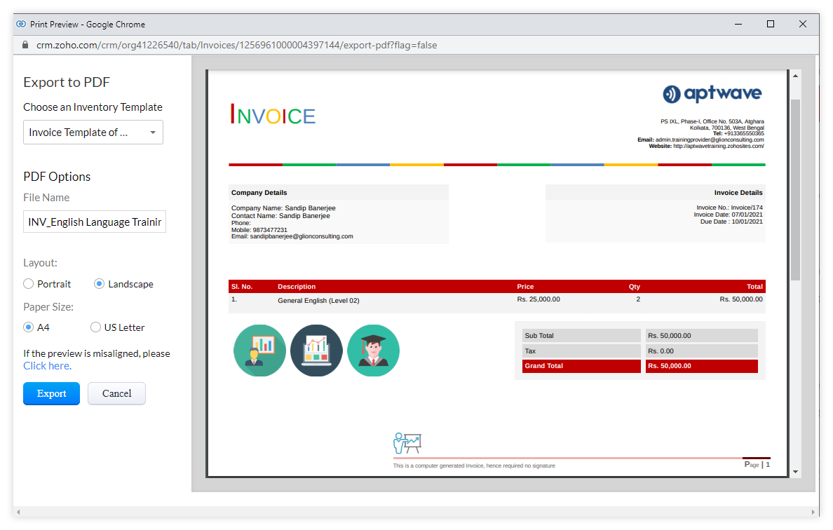 Drafting invoice