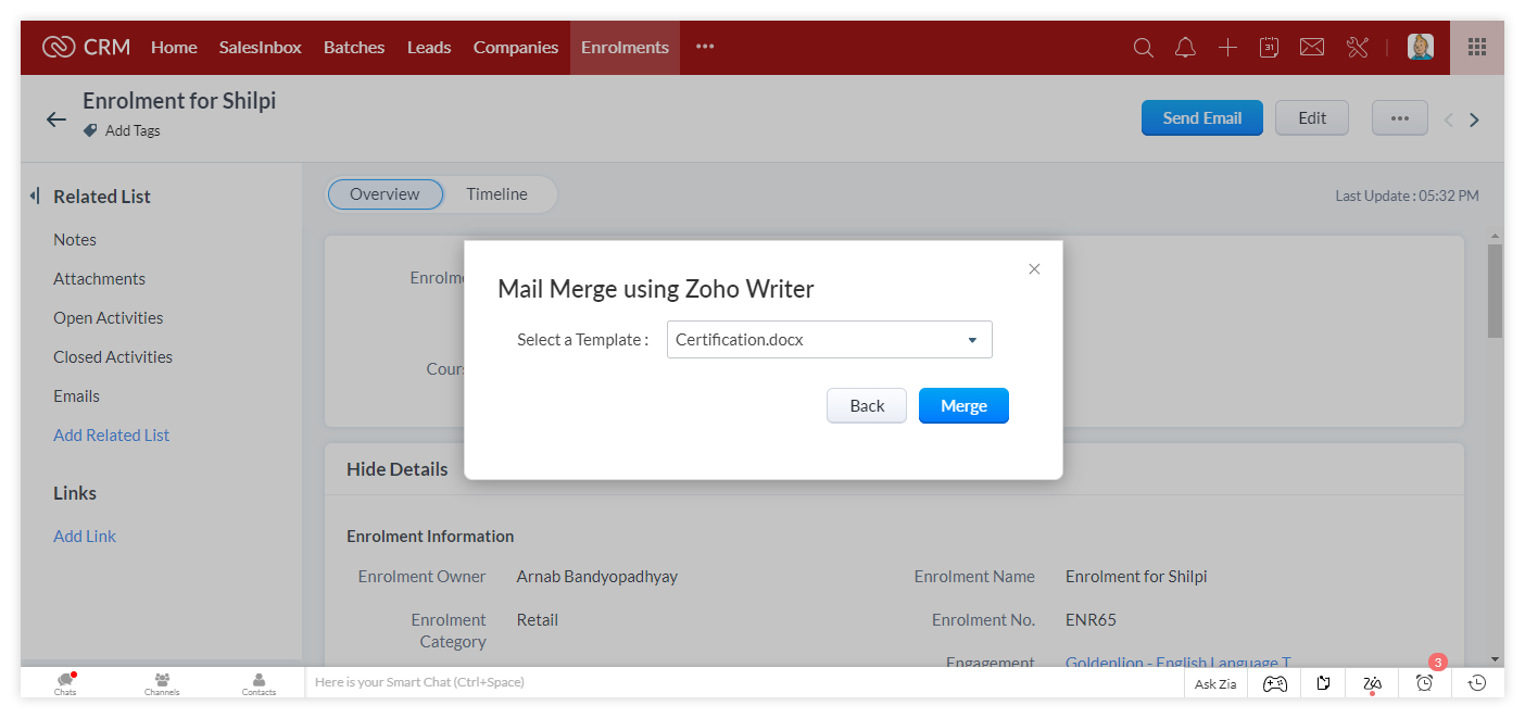 Mail Merge with Zoho Writer to generate a Certificate