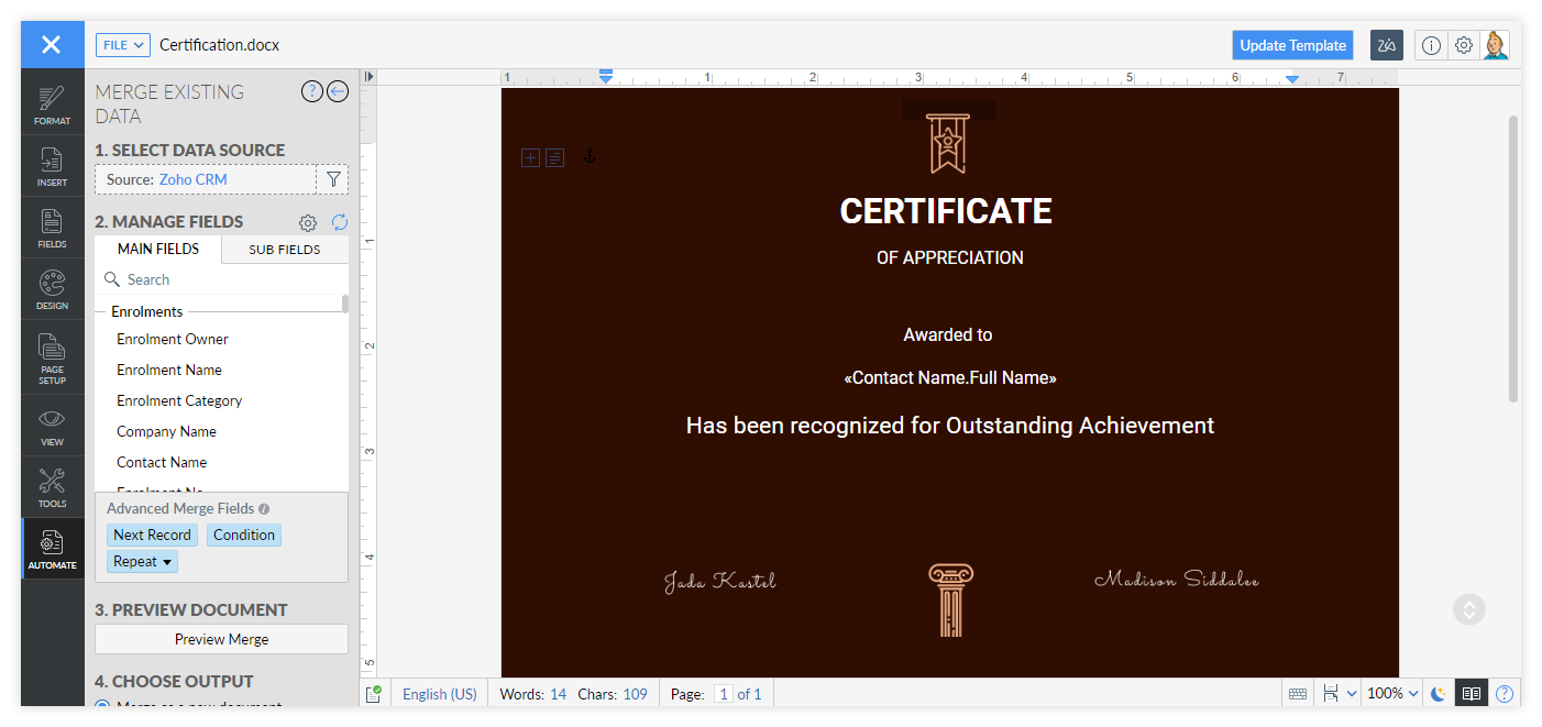 Edit the details on the Certificate