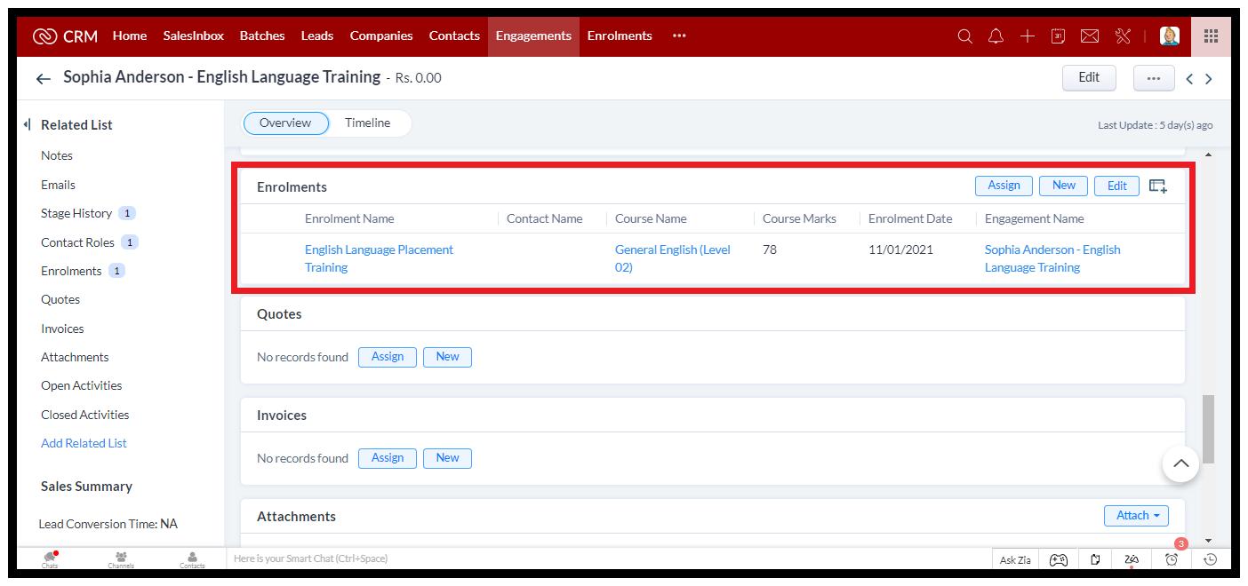 Training Provider CRM: Engagement details Retail