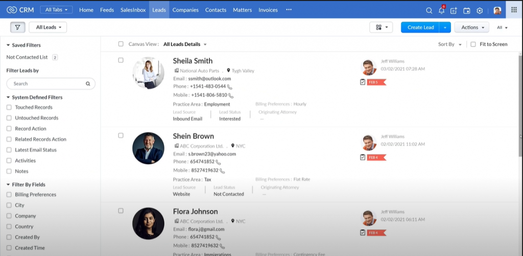 Law Firm CRM_Lead Details