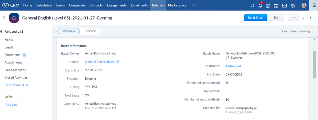 Training Provider CRM- Batch Details