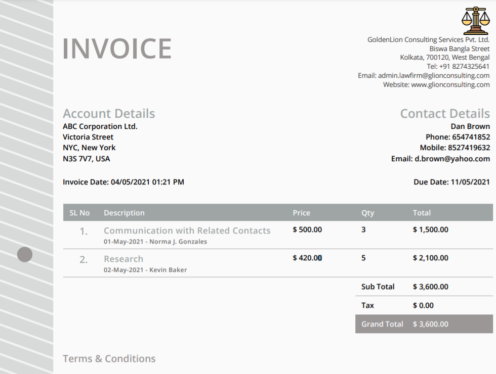 Law Firm CRM- Invoice